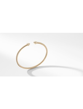 Cable Spira® Bracelet In 18 K Gold With Diamonds, 3mm by David Yurman