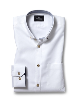 Moss London Casual Skinny Fit White Button Down Stretch Oxford Shirt by Moss Bros