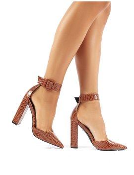 Tori Tan Croc Pointed Block High Heels by Public Desire
