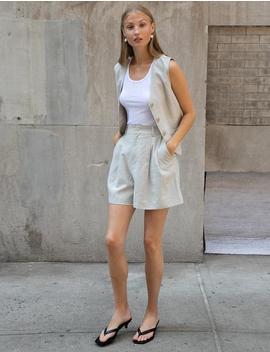 Ecru Linen Vest by Pixie Market