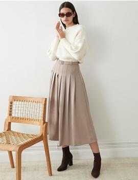 Taupe Pleated Midi Skirt by Pixie Market