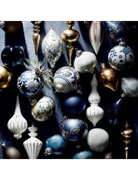 48 Piece Indigo Dreams Ornament Collection by Frontgate