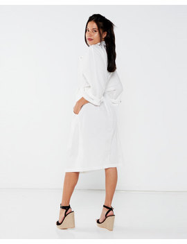 Liquorish Casual Midi Shirt Dress With 3/4 Sleeves White by Liquorish