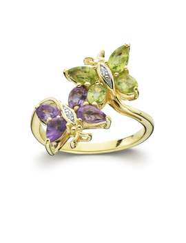 Gold Over Silver Multi Color Butterfly Ring Gold Over Silver Multi Color Butterfly Ring by Sears