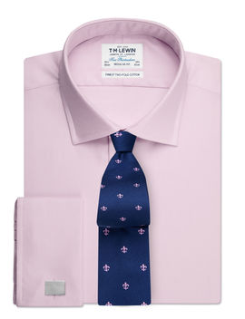 Regular Fit Plain Pink Luxury Twill Double Cuff Shirt by T.M.Lewin