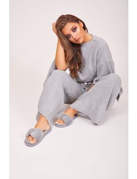 Trixxie Grey Fluffy Sliders by Katch Me