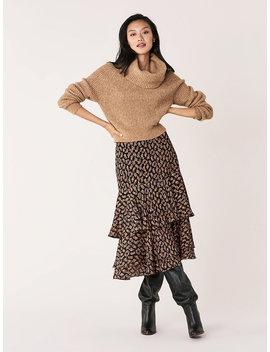 Meg Silk Metallic Tiered Midi Skirt by Dvf