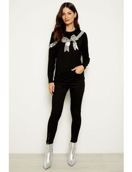 Black Silver Sequin Bow Knit Jumper by Sosandar
