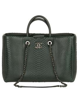 2017 Chanel Dark Green Python Leather Shopping Tote by 1 Stdibs