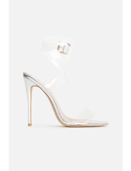 Mia Perspex Heels In Silver by Luxe To Kill