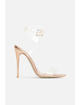 Mia Perspex Heels In Rose Gold by Luxe To Kill