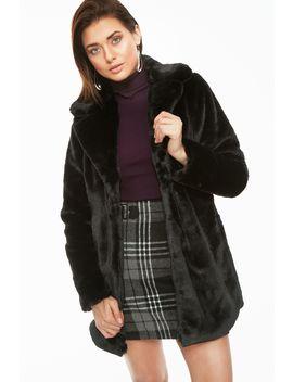 Black Plush Collar Detail Long Fur Jacket by Select