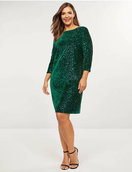 Sequin Velvet Sheath Dress by Lane Bryant