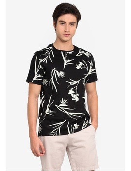 Black And White Smart Floral T Shirt by Burton Menswear London