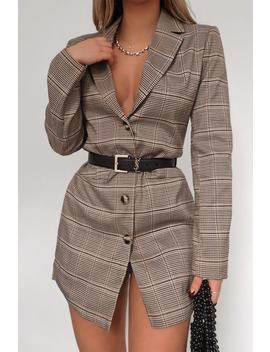 Fashion Influx Brown Heritage Check Single Breasted Longline Blazer by In The Style