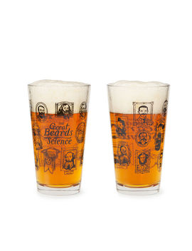 Great Beards Of Science Pint Glass by Uncommon Goods