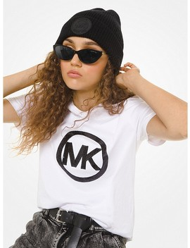 Sequined Logo Cotton Jersey T Shirt by Michael Michael Kors