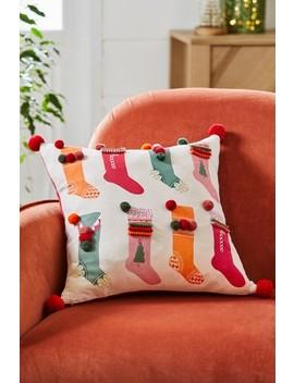 Pom Pom Stocking Christmas Cushion by Next