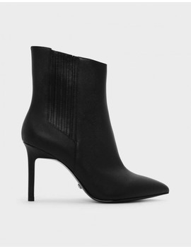 Classic Leather Pointed Boots by Charles & Keith
