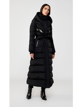Maxi Length Down Coat With Sequins by Adinaadina