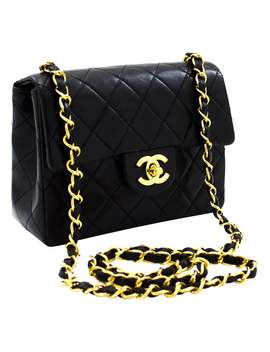 Chanel Mini Square Small Chain Shoulder Crossbody Bag Black Lamb Leather by 1 Stdibs