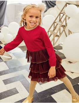 Tiered Sparkle Jersey Dress by Boden