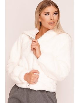 White Faux Fur Zip Up Jacket by Katch Me