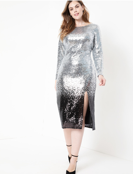 Ombre Sequin Dress With Slit by Eloquii