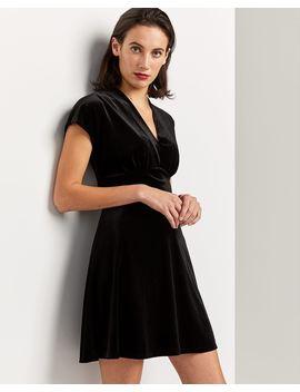 Short Sleeve Fit & Flare Velvet Dress by Reitmans