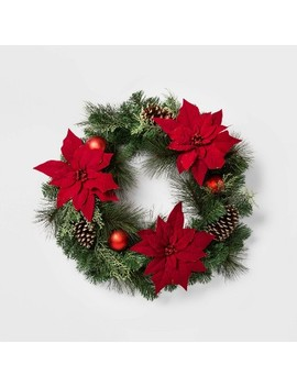 """28""""-christmas-red-poinsettia-with-ornaments-artificial-pine-wreath---wondershop by wondershop"""