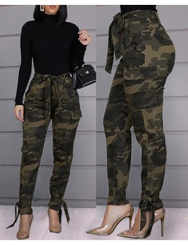 Tied Camouflage Casual Pants by Chic Me