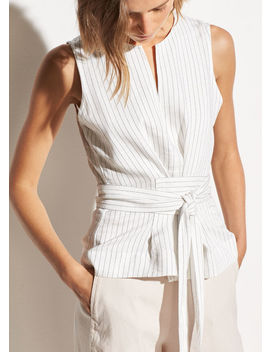 Pencil Stripe Belted Shell by Vince