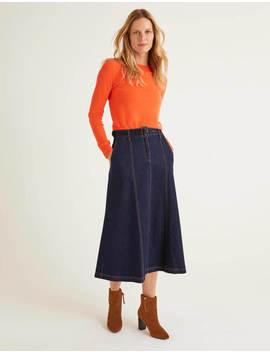 Mira Denim Midi Skirt by Boden