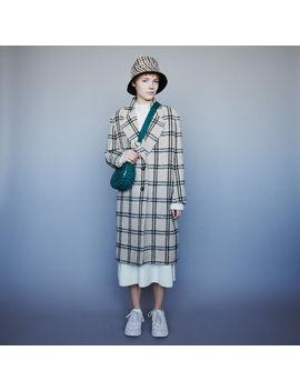 Long Plaid Coat by Maje