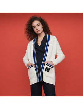 Contrast Striped Embroidered Cardigan by Maje
