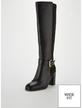 Tammy Wide Fit Block Heel Buckle Knee Boots   Black by V By Very