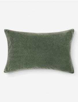 Charlotte Velvet Lumbar Pillow, Moss by Lulu & Georgia