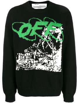 Off White          Black Ruined Factory Knit Crewneck by Off White