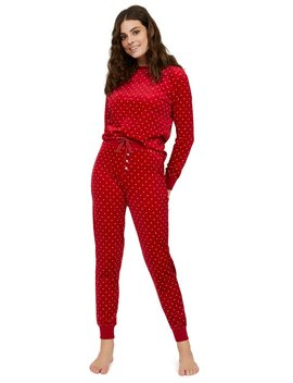 2 Piece Mini Dot Print Velour Pyjama Set by Suzy Shier