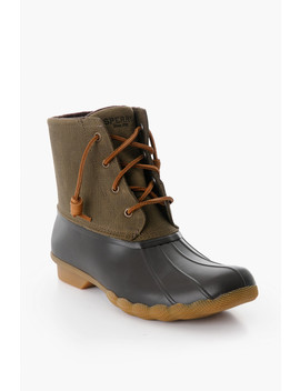 Olive Saltwater Duck Boot by Sperry