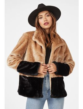 Color Block Fur Jacket Vip Membership Program by Justfab