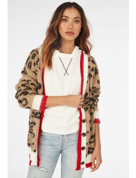 Leopard Print Cardigan With Stripe by Justfab