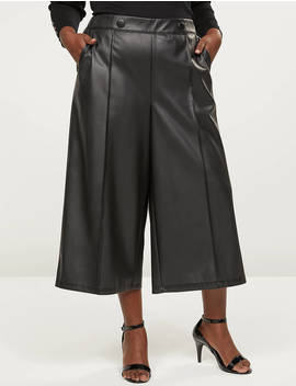 Faux Leather Wide Leg Crop With Button Waist by Lane Bryant
