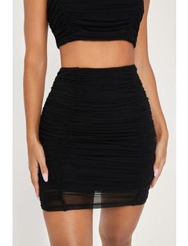 Mattea Ruched Mesh Mini Skirt   Black by Meshki
