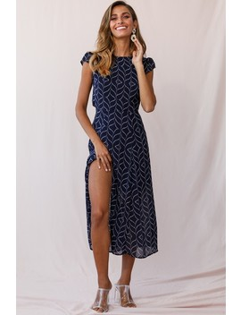 Becky Cap Sleeve Crew Neck Midi Dress Dot Print Navy by Selfie Leslie