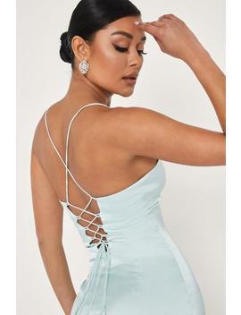 Annie Lace Up Back Satin Mini Dress   Sage by Meshki