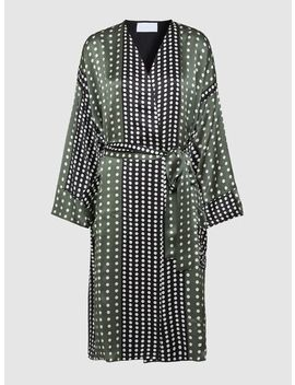 Polka Dot Belted Silk Robe by ‎Asceno‎