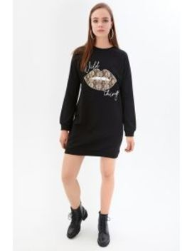Black Wild Thing Printed Sweat Dress by Select