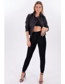 Black Chenille Soft Touch Joggers by Select