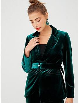 Belted Velvet Jacket   Forest Green by V By Very